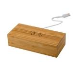 Bambusowa ładowarka bezprzewodowa 5W, zegar (V0137-17)