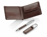 Komplet upominkowy portfel, brelok, długopis brązowy (17600-09)