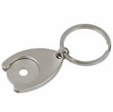 Metalowy brelok z żetonem Disc, srebrny z grawerem (R73269)