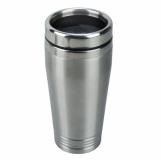 Kubek izotermiczny Landskrona 380 ml, srebrny/czarny z grawerem (R08392)