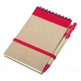 Notes eco z długopisem, czerwony/beżowy z nadrukiem (R73795.08)