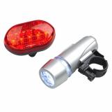 Zestaw lampek rowerowych Biker Light, srebrny z logo (R17840)