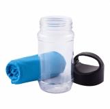 Ręcznik chłodzący w butelce Feel cool, niebieski z logo (R07984.04)
