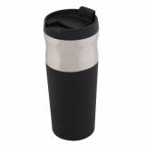 Kubek izotermiczny Ottawa 450 ml, czarny/srebrny z logo (R08398.02)