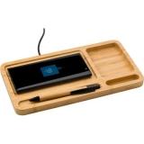 Bambusowy organizer na biurko, ładowarka bezprzewodowa 5W (V0185-17)