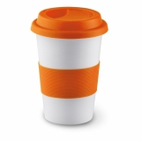 TRIBECA Ceramiczny kubek z przykrywką z nadrukiem (MO7683-10)