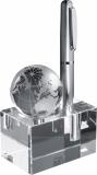 Szklany blok z globusem z logo (2750566)