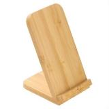 Bambusowa ładowarka bezprzewodowa 10W B'RIGHT, stojak na telefon (V0349-17)