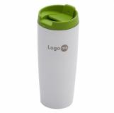 Kubek izotermiczny Fresvik 390 ml, zielony/biały z logo (R08335.05)
