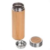 Bambusowy termos 400 ml, posiada sitko zatrzymujące fusy (V0844-17)