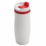 Kubek izotermiczny Viki 390 ml, czerwony/biały z logo (R08336.08)