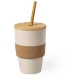 Bambusowy kubek podróżny 450 ml z wieczkiem i słomką (V0886-00)
