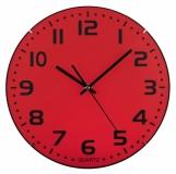 Zegar ścienny Rotundo, czerwony z nadrukiem (R64395.08)