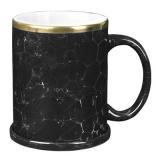 Kubek CEZAR SET 330 ml czarny marmur / biały