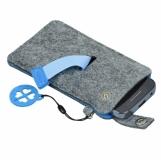 Etui na smartfona Eco Sense, niebieski/szary z nadrukiem (R08613.04)