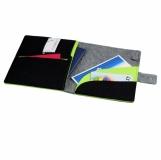 Teczka z filcu na tablet Eco-Sense, szary/zielony z nadrukiem (R08617)