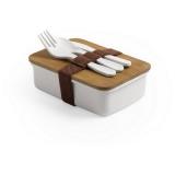 Bambusowe pudełko śniadaniowe 700 ml, sztućce (V8845-00)