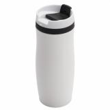 Kubek izotermiczny Viki 390 ml, czarny/biały z logo (R08336.02)