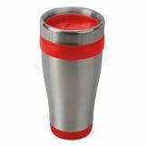 Kubek izotermiczny Boden 430 ml, czerwony/srebrny z logo (R08367.08)