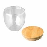 Kubek szklany Arbela 300 ml, brązowy z logo (R08266.10)