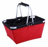 Składany kosz na zakupy Eugene, czerwony/czarny z logo (R08158.08)