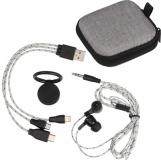 Zestaw podróżny z kablem do ładowania, słuchawkami i uchwytem na telefon z logo (3097007)