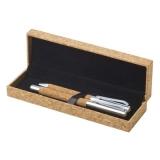 Korkowy zestaw piśmienny, długopis, pióro kulkowe (V1964-18)