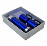 Metalowy termos Picnic 480 ml + 2 kubki, niebieski/srebrny  (R08383)