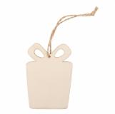 Ozdoba choinkowa Gift, beżowy z logo (X91013.13)