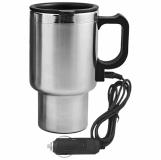 Samochodowy kubek izotermiczny z podgrzewaczem Auto Steel Mug 400 ml z logo, srebrny/czarny (R08358)