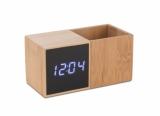 Zegar z przybornikiem na biurko BAMBOO naturalny (03089)