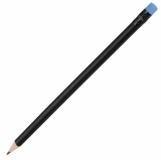 Ołówek drewniany, niebieski/czarny z nadrukiem (R73772.04)