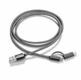 Kabel USB 2 w 1 MESH czarny (09084-02)