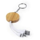 Bambusowy brelok do kluczy, kabel do ładowania (V0362-16)