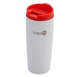 Kubek izotermiczny Fresvik 390 ml, czerwony/biały z logo (R08335.08)