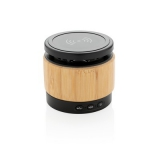 Bambusowy głośnik bezprzewodowy 3W, ładowarka bezprzewodowa (P329.179)