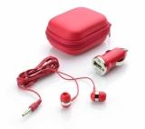 Zestaw podróżny (słuchawki i ładowarka samochodowa) czerwony (09038-04)