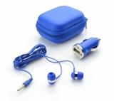 Zestaw podróżny (słuchawki i ładowarka samochodowa) niebieski (09038-03)