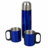 Metalowy termos Picnic 480 ml + 2 kubki, niebieski/srebrny z grawerem (R08383)