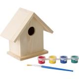 Domek dla ptaków, zestaw do malowania, farbki i pędzelek (V7347-17)