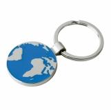 Metalowy brelok Globe, srebrny/niebieski z grawerem (R73219)