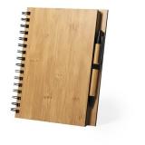 Bambusowy notatnik B7, długopis (V0206-16)