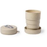 Bambusowy składany kubek podróżny 220 ml z karabińczykiem (V0883-00)