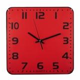 Zegar ścienny Cuadrado, czerwony z nadrukiem (R64397.08)