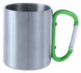 Metalowy kubek 200 ml z karabińczykiem (V8437-06)