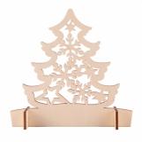 Drewniana wycinanka choinka Christmas tree, beżowy z logo (X91024.13)