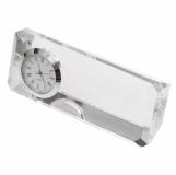 Kryształowy przycisk do papieru z zegarem Cristalino, transparentny z grawerem (R22186.00)