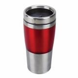 Kubek izotermiczny Resolute 380 ml, czerwony/srebrny z logo (R08349.08)