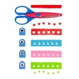 Zestaw dziurkaczy z nożyczkami Fun-design, niebieski z logo (R64337.04)