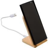 Bambusowa ładowarka bezprzewodowa 5W, stojak na telefon (V0186-17)